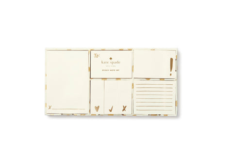 Kate Spade Sticky Note Set - Gold Flamingo Dot