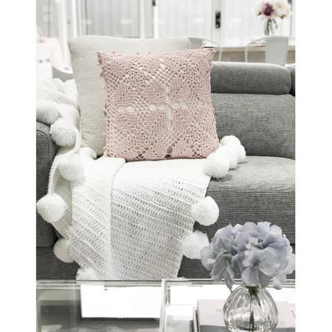 Hope and Jade Pom Pom Throw Blanket - White - Neapolitan Homewares