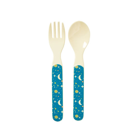 RICE Kids melamine fork & spoon - Boys Universe - Neapolitan Homewares