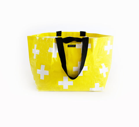Yellow and White Cross Tote Bag