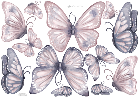 Isla Dream Prints - Wall Decals - Butterfly Blush - Neapolitan Homewares