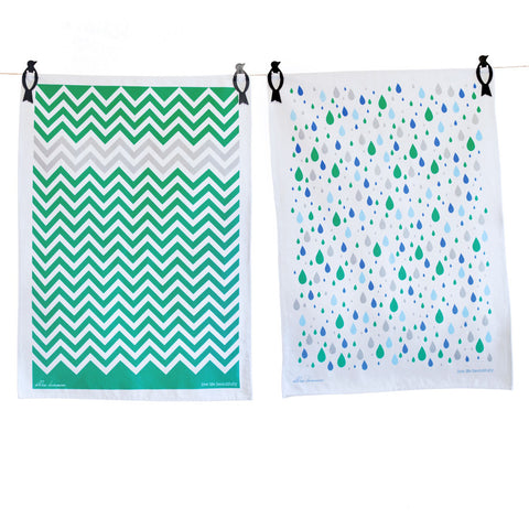 Tea Towels twin pack - Raindrops & Chevron green