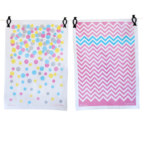 Tea Towels twin pack - Confetti & Chevron pink