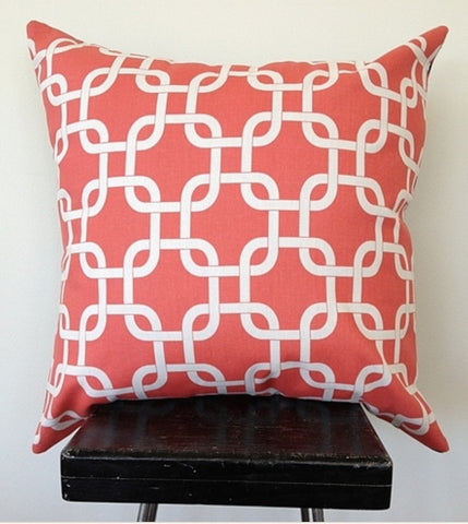 Black Eyed Susie cushion - coral chain link - Neapolitan Homewares