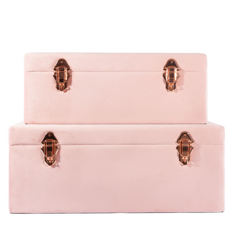 Petit Luxe Bebe Velvet Storage Case Set - Dusty Pink - Neapolitan Homewares