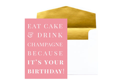 August & Co Card - Eat Cake & Drink Champagne - Neapolitan Homewares