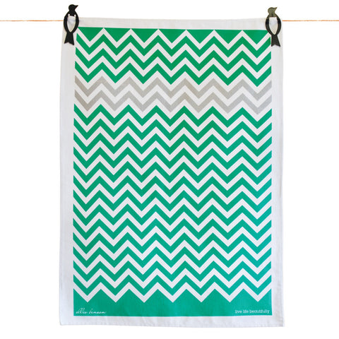 Tea Towels - Chevron green