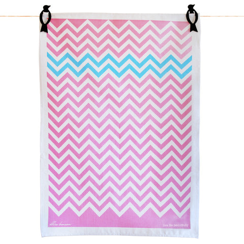 Tea Towels - Chevron pink