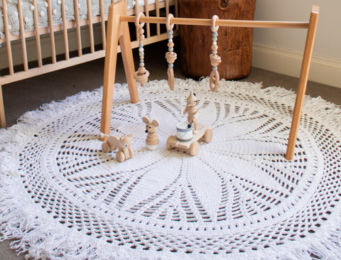 Hope and Jade Crochet rug 150cm - Willow - Neapolitan Homewares