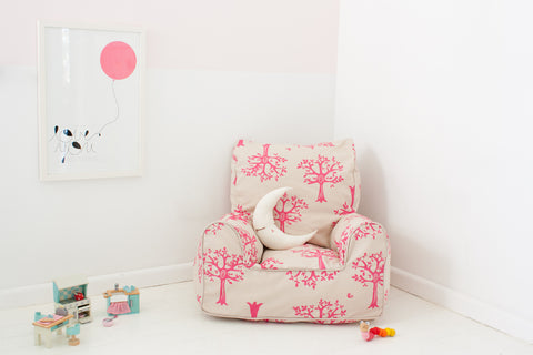 Lelbys bean chair - Pink Orchard