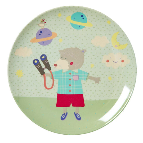 RICE Kids Melamine Plate - Boys Happy Camper