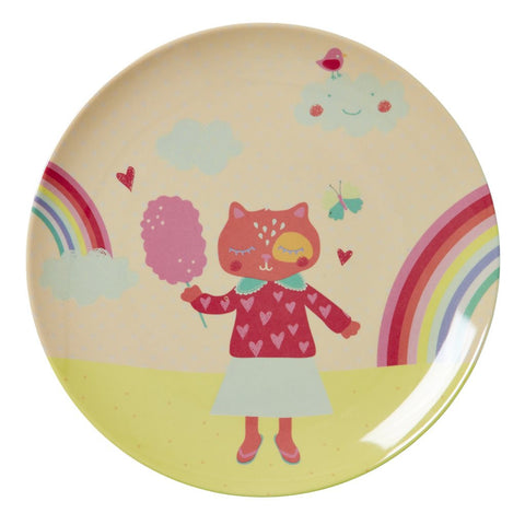 RICE Kids Melamine Plate - Girls Happy Camper