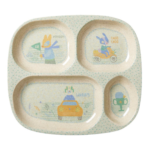 RICE Kids Bamboo Melamine Tray - Race