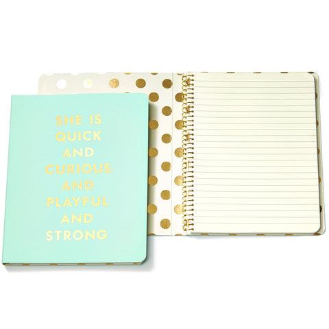 Kate Spade Spiral Notebook Light Blue Gold embossed