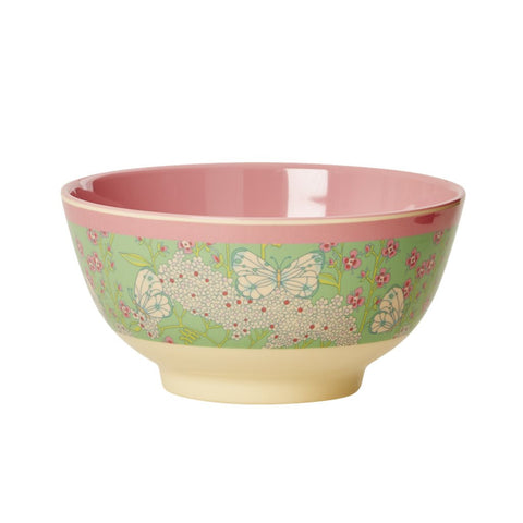RICE melamine two tone bowl - Butterfly Flower