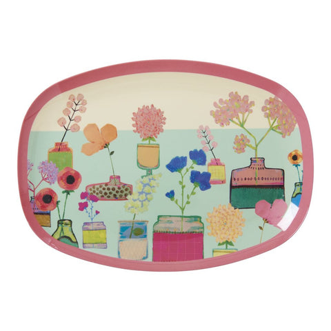 RICE melamine rectangular plate - Flower Display