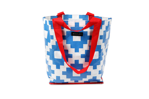 Mooleii Small Tote - Blue and White Aztec