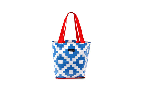Mooleii Small Tote - Blue and White Aztec - Neapolitan Homewares
