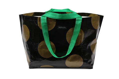 Mooleii Large Tote - Black and Gold Spots