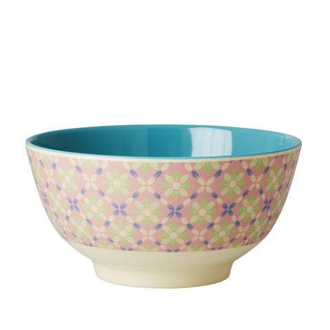 RICE melamine two tone bowl - Flower Tile