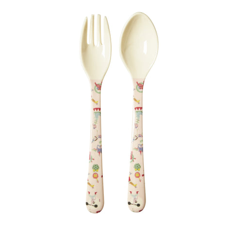 RICE Kids melamine fork & spoon - Girl Circus