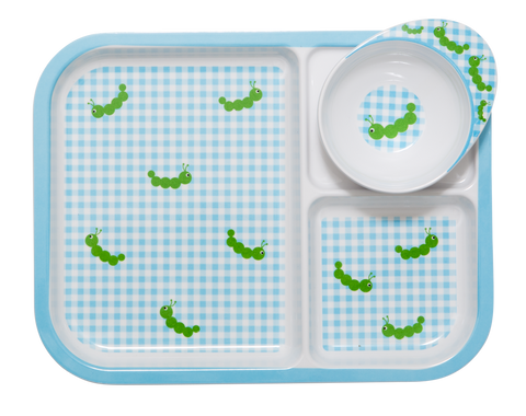 RICE Kids melamine plate & bowl set - Caterpillar print - Neapolitan Homewares