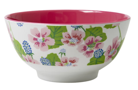 RICE melamine two tone bowl - Blossom & Berries White