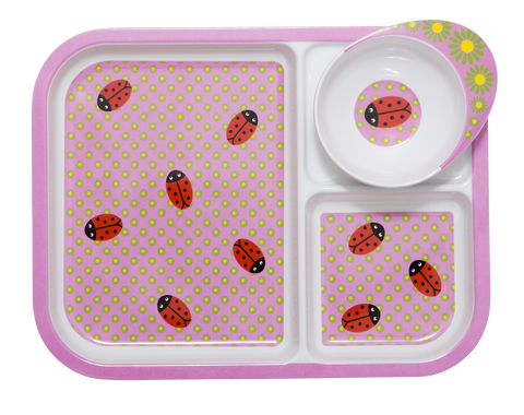 RICE melamine. Children's plate and bowl set, ladybug print. Colourful homewares and lifestyle products from www.neapolitan.net.au