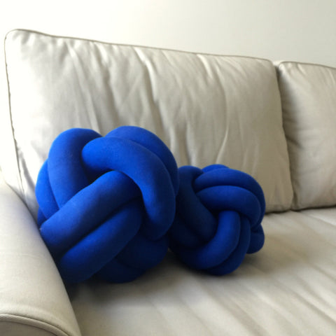 Royal blue knot cushion normal and petite size