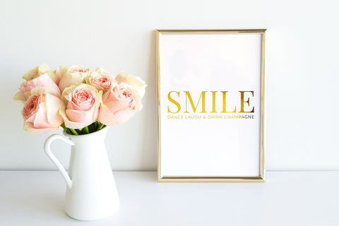 August & Co Gold Foil Print - SMILE