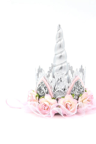 Love Crush Crown - Unicrown Silver Lace with Flowers