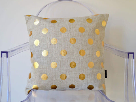 A Tea with the Queen cushion cover - gold dots - Neapolitan Homewares