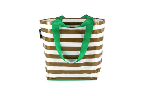 Mooleii Small Tote - Gold Metallic Stripes