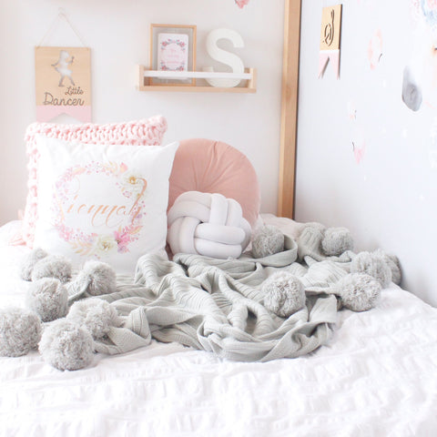Hope and Jade Pom Pom Throw Blanket - Light Grey - Neapolitan Homewares