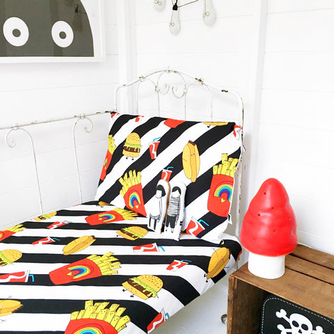 Love Frankie Junk Food Fitted Bed Sheet