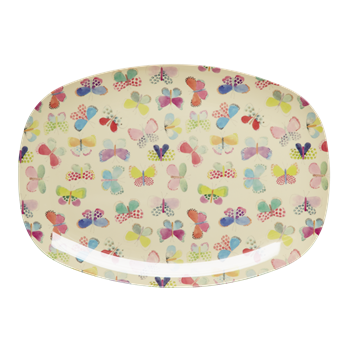 butterfly print rectangular plate