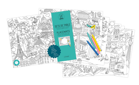OMY Design & Play Kids Colouring Placemats set - City