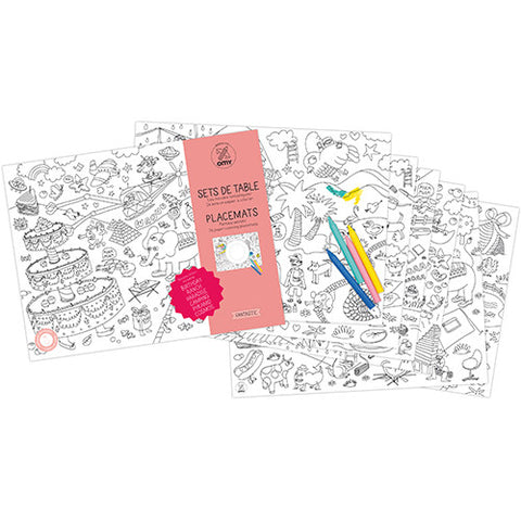 OMY Design & Play Kids Colouring Placemats set - Fantastic