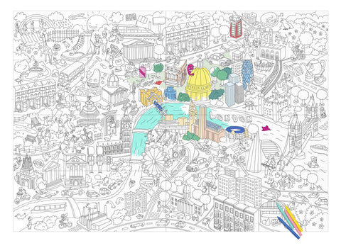 OMY Design & Play colouring poster - London