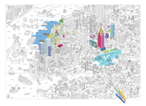 OMY Design & Play colouring poster - New York