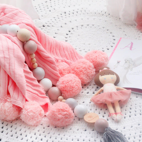 Hope and Jade Pom Pom Throw Blanket - Light Pink - Neapolitan Homewares