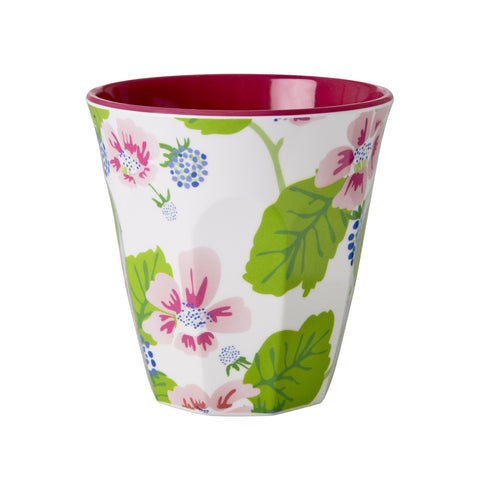 RICE melamine two tone tumbler - Blossoms & Berries White
