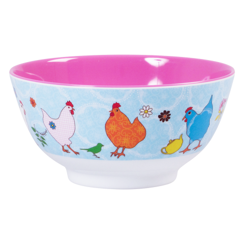 RICE melamine two tone bowl - Hens - Neapolitan Homewares