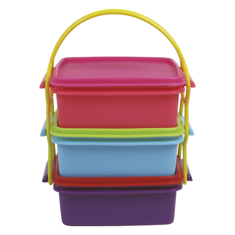 RICE Square tiered food containers with carry strap