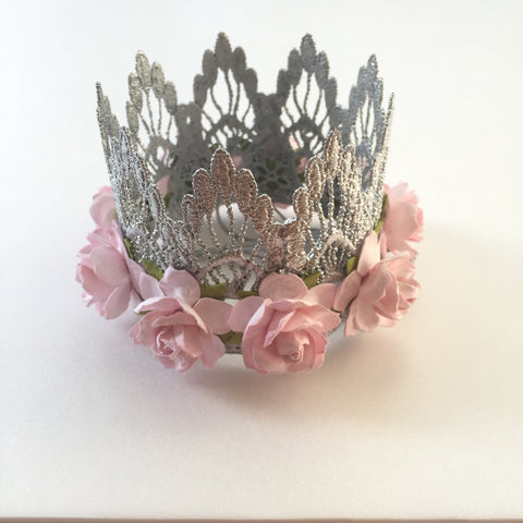 Love Crush Crown - Sienna Silver Lace Crown with Flowers