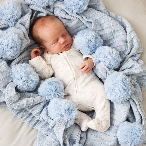Hope and Jade Pom Pom Throw Blanket - Baby Blue - Neapolitan Homewares