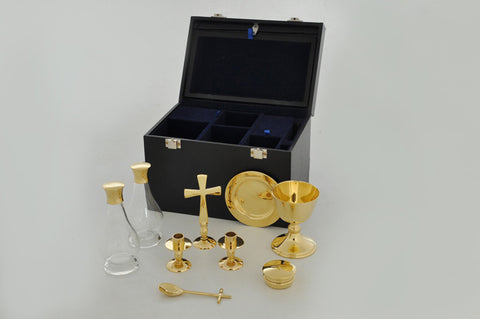 Complete Communion Set ( pyx, chalice, paten, candles, cross)