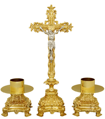 Ornate Crucifix & Candlestick set