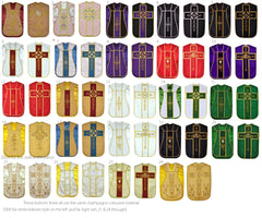 Fiddleback Vestment Set from $350 (includes Chasuble, Chalice Veil, Maniple and Burse)