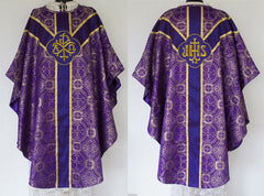 Metallic Brocade Gothic Vestment & Mass Set  (Chalice Veil, Maniple, Burse & Stole) LINED